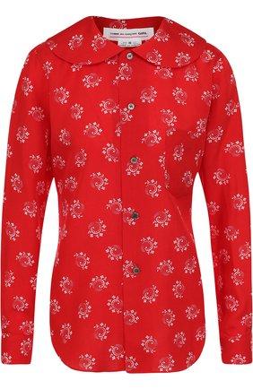 Блуза из вискозы с контрастным принтом | Фото №1
