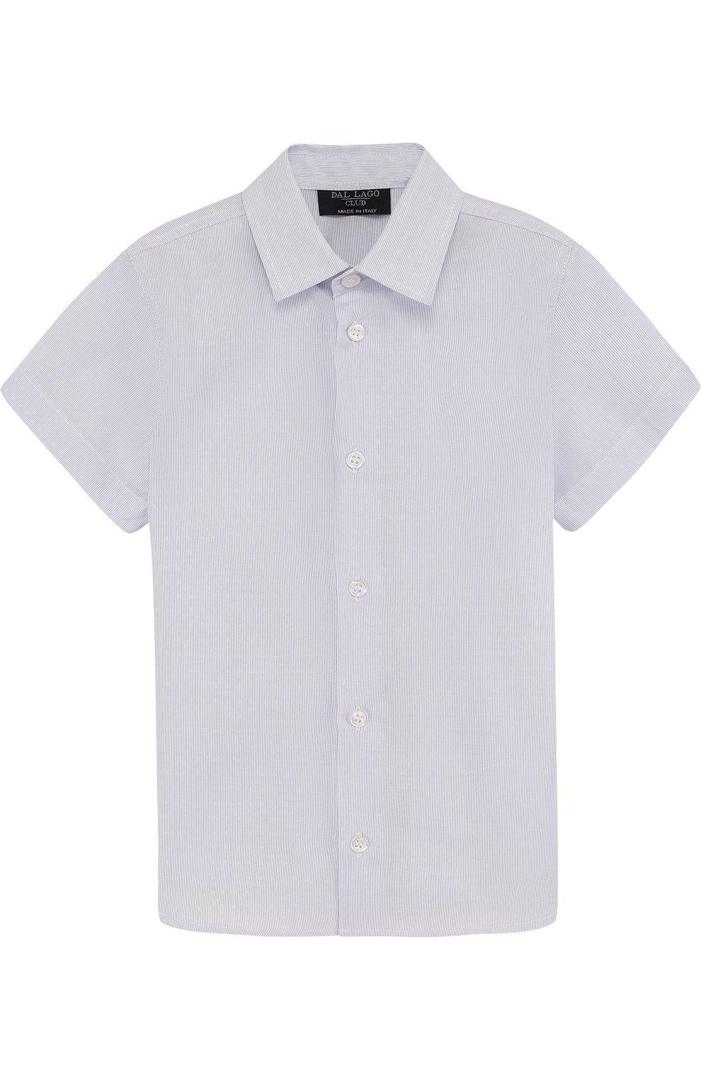 Детская хлопковая рубашка прямого кроя с короткими рукавами DAL LAGO голубого цвета, арт. N403/8418/3-6   Фото 1