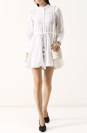 Приталенное хлопковое платье-миди с воротником-стойкой Zadig&Voltaire белое | Фото №1