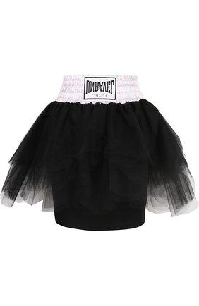 Мини-юбка из смеси вискозы и шелка с контрастным поясом Ben Taverniti Unravel Project черная | Фото №1