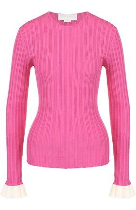 Пуловер фактурной вязки из вискозы Esteban Cortazar розовый   Фото №1