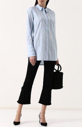 Женская удлиненная хлопковая блуза в полоску Equipment, цвет голубой, арт. 17-5-001164-E911C в ЦУМ | Фото №1