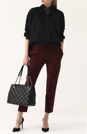Сумка-тоут с заклепками DKNY черная цвета | Фото №1