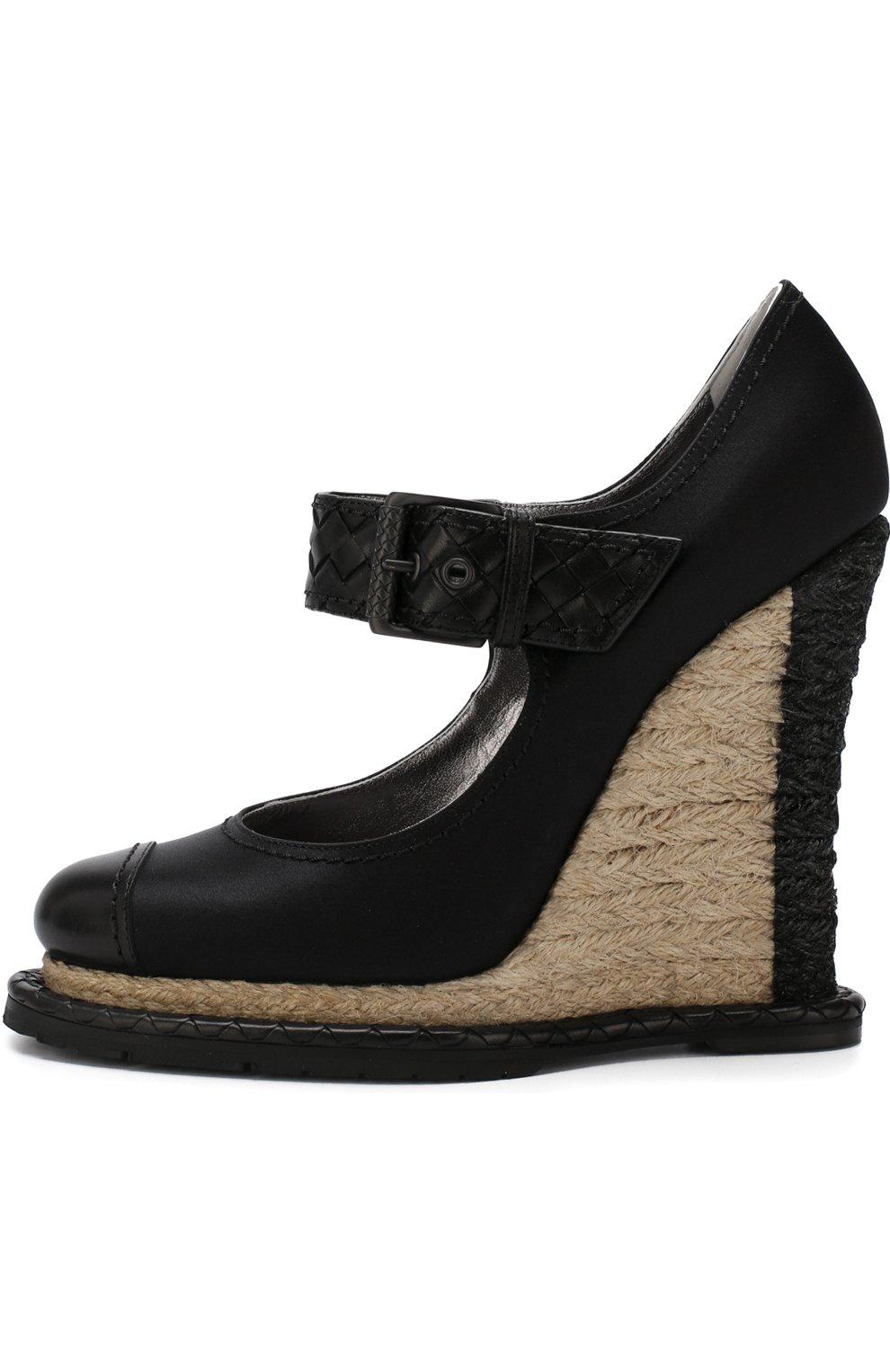 Женские текстильные туфли на танкетке BOTTEGA VENETA черного цвета, арт. 512139/VBFVU | Фото 3
