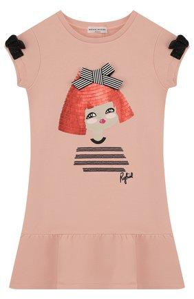 Детское мини-платье с отделкой пайетками и бантами Sonia Rykiel Enfant розового цвета | Фото №1
