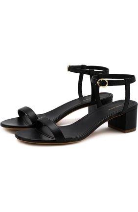 Кожаные босоножки на устойчивом каблуке  | Фото №1