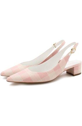 Комбинированные туфли с зауженным мысом Mansur Gavriel розовые   Фото №1