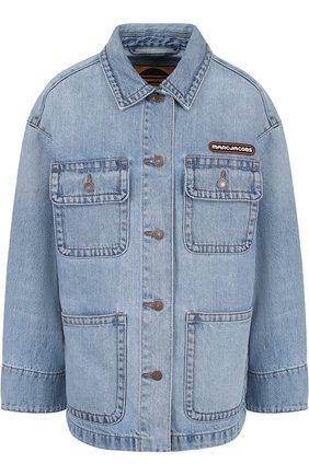 Джинсовая куртка свободного кроя с потертостями