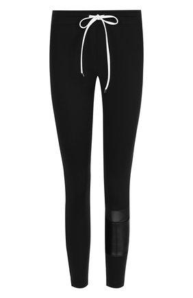 Укороченные брюки-скинни с контрастной отделкой | Фото №1