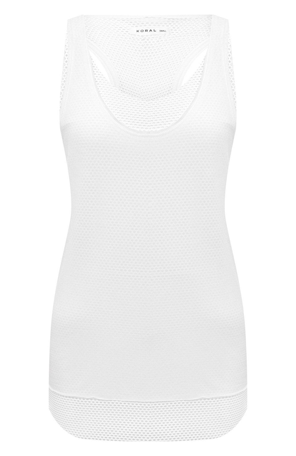 Женский майка KORAL белого цвета, арт. A6270J07 | Фото 1 (Кросс-КТ: без рукавов; Длина (для топов): Стандартные; Материал подклада: Синтетический материал; Статус проверки: Проверена категория)