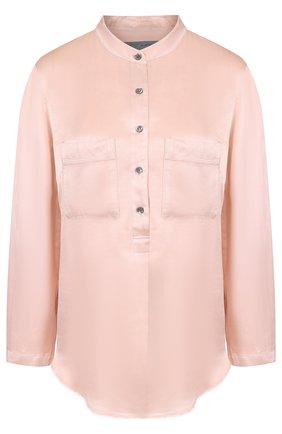 Однотонная блуза из вискозы с воротником-стойкой | Фото №1