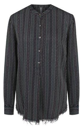Блуза свободного кроя из вискозы с воротником-стойкой | Фото №1