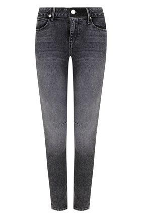 Укороченные джинсы-скинни с потертостями