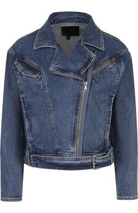 Укороченная джинсовая куртка с потертостями | Фото №1