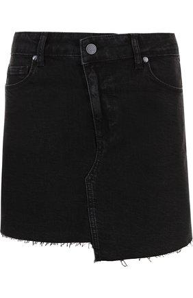 Джинсовая мини-юбка с потертостями Paige черная   Фото №1