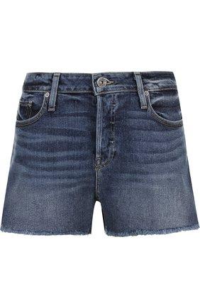 Джинсовые мини-шорты с потертостями Paige голубые   Фото №1