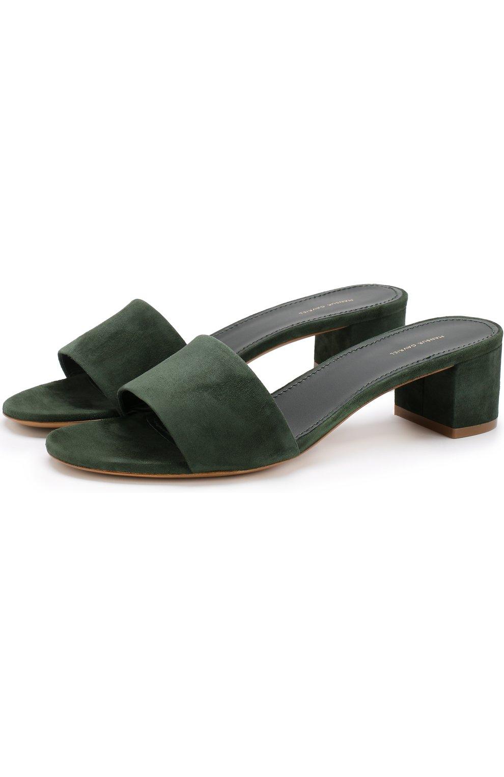 Замшевые сабо на устойчивом каблуке | Фото №1