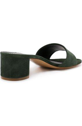 Замшевые сабо на устойчивом каблуке | Фото №4