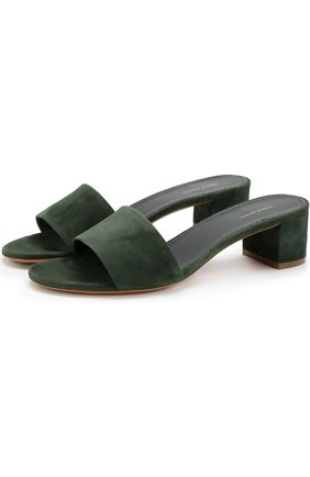 Замшевые сабо на устойчивом каблуке Mansur Gavriel темно-зеленые   Фото №1