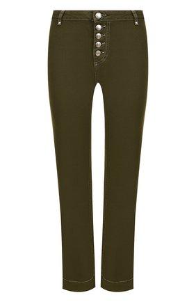 Укороченные расклешенные джинсы Alexachung хаки   Фото №1