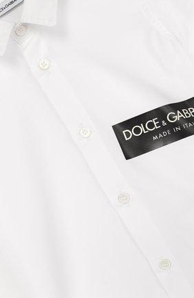 Детский хлопковая рубашка с логотипом бренда DOLCE & GABBANA белого цвета, арт. L1JS21/G7MRD | Фото 3 (Рукава: Короткие; Материал внешний: Хлопок; Статус проверки: Проверено, Проверена категория)