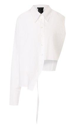 Однотонная хлопковая блуза асимметричного кроя   Фото №1