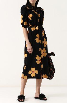 Текстильные сабо с цветочным декором Simone Rocha черные | Фото №1