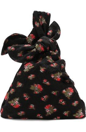 Сумка из текстиля с принтом Simone Rocha черная цвета | Фото №1