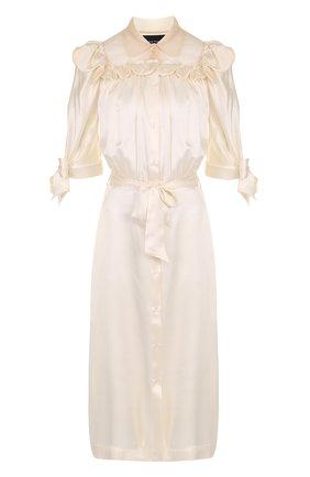 Шелковое платье-миди с оборками и поясом | Фото №1