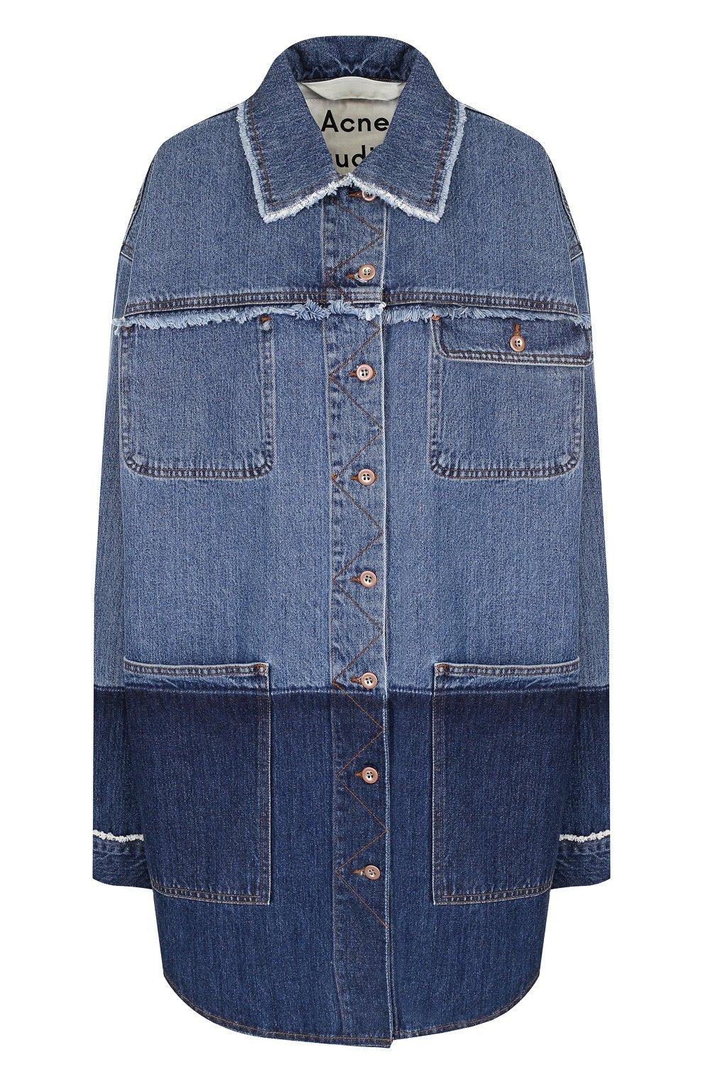 991adef60f4 Женская синяя удлиненная джинсовая куртка с потертостями ACNE ...