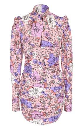Приталенная шелковая блуза с принтом и драпировкой | Фото №1
