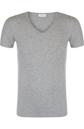 Хлопковая футболка с V-образным вырезом Perofil серая | Фото №1