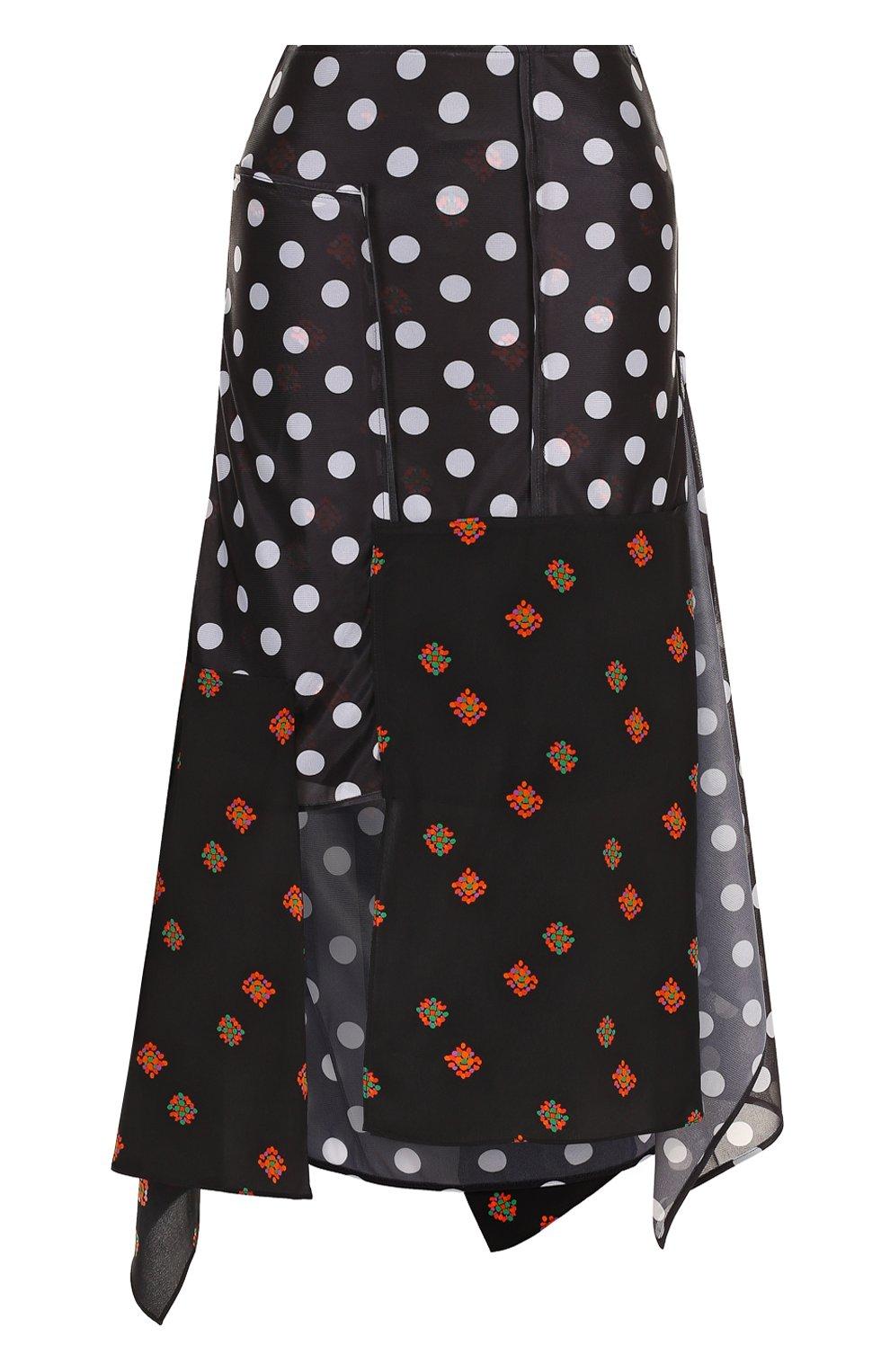 Женская юбка-миди асимметричного кроя с принтом J.W. ANDERSON черного цвета, арт. SK50WS18 640/999 | Фото 1