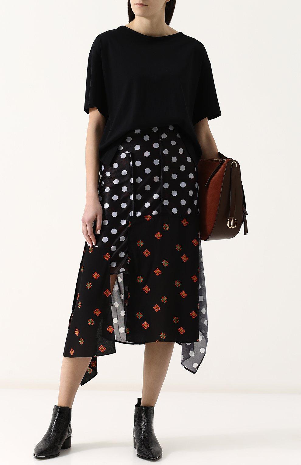 Женская юбка-миди асимметричного кроя с принтом J.W. ANDERSON черного цвета, арт. SK50WS18 640/999 | Фото 2