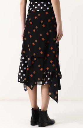 Женская юбка-миди асимметричного кроя с принтом J.W. ANDERSON черного цвета, арт. SK50WS18 640/999 | Фото 4