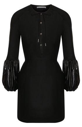 Льняное мини-платье с кожаной отделкой J.W. Anderson черное   Фото №1