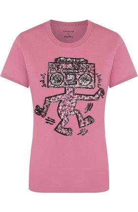 Хлопковая футболка с круглым вырезом и пайетками | Фото №1