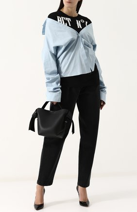 Женская хлопковая блуза с драпировкой ACT N1 голубого цвета, арт. ST1811   Фото 2 (Рукава: Длинные; Материал внешний: Хлопок; Женское Кросс-КТ: Блуза-одежда; Длина (для топов): Удлиненные; Принт: С принтом)