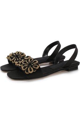 Текстильные сандалии с аппликацией | Фото №1