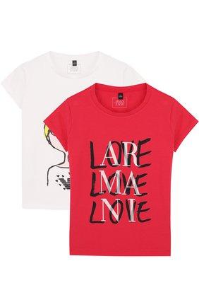 Хлопковый комплект из двух футболок с принтом | Фото №1