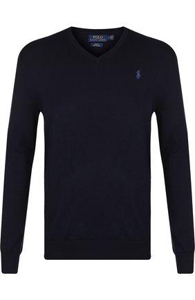 Мужской хлопковый пуловер тонкой вязки POLO RALPH LAUREN темно-синего цвета, арт. 710670789 | Фото 1