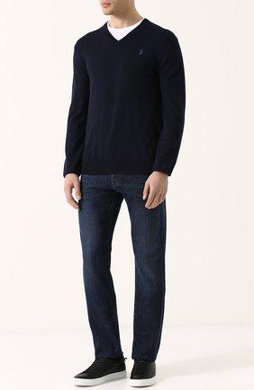 Мужской хлопковый пуловер тонкой вязки POLO RALPH LAUREN темно-синего цвета, арт. 710670789 | Фото 2