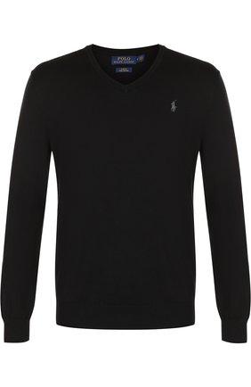 Мужской хлопковый пуловер тонкой вязки POLO RALPH LAUREN черного цвета, арт. 710670789 | Фото 1