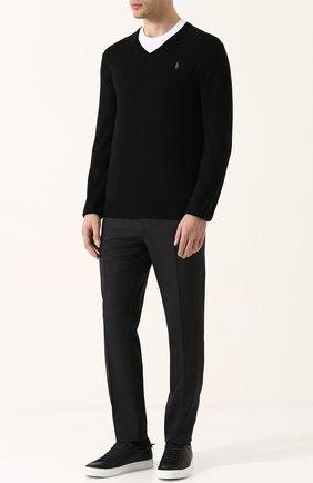 Мужской хлопковый пуловер тонкой вязки POLO RALPH LAUREN черного цвета, арт. 710670789 | Фото 2