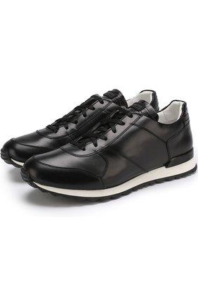 Мужские кожаные кроссовки с отделкой из кожи крокодила KITON черного цвета, арт. USSB0RIN00038 | Фото 1
