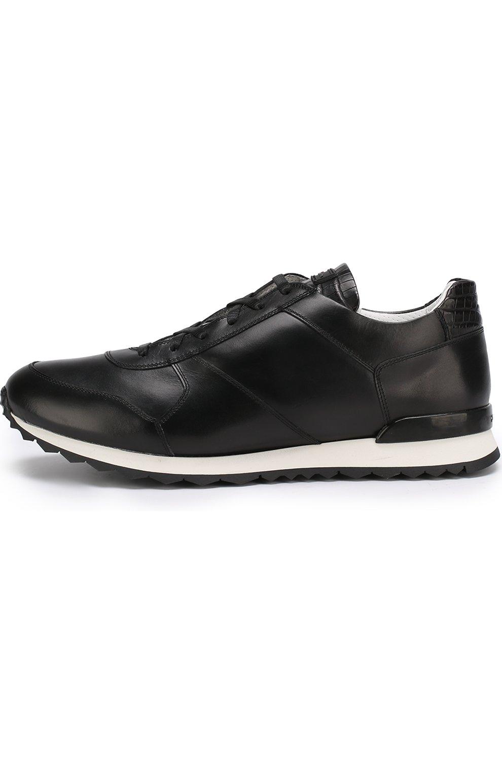 Мужские кожаные кроссовки с отделкой из кожи крокодила KITON черного цвета, арт. USSB0RIN00038 | Фото 3