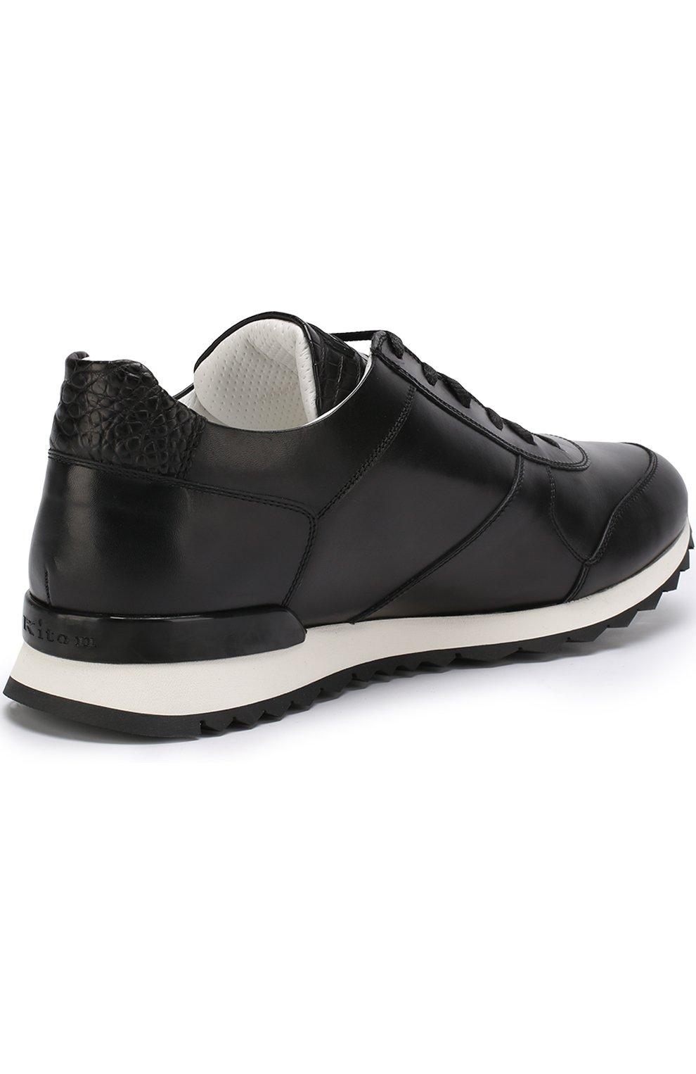 Мужские кожаные кроссовки с отделкой из кожи крокодила KITON черного цвета, арт. USSB0RIN00038 | Фото 4