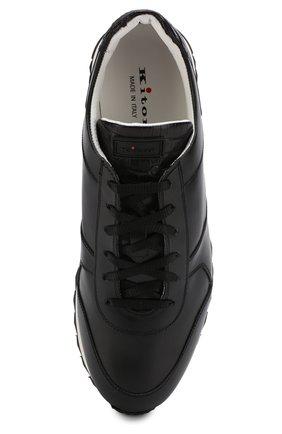 Мужские кожаные кроссовки с отделкой из кожи крокодила KITON черного цвета, арт. USSB0RIN00038 | Фото 5