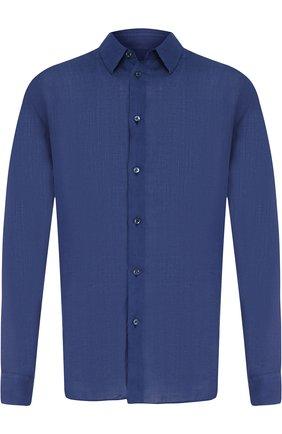 Мужская льняная рубашка с воротником кент GIORGIO ARMANI темно-синего цвета, арт. WSC6PT/WS26C   Фото 1