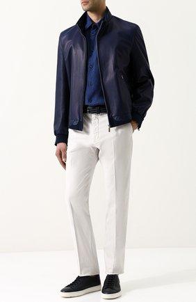 Мужская льняная рубашка с воротником кент GIORGIO ARMANI темно-синего цвета, арт. WSC6PT/WS26C   Фото 2